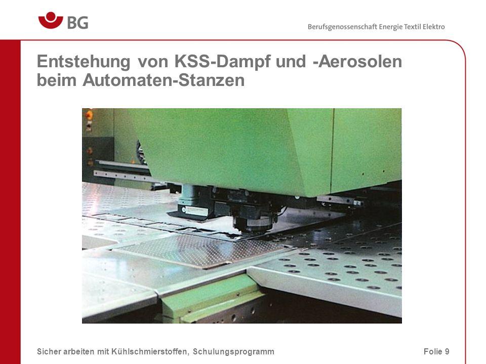 Entstehung von KSS-Rauch an einer Fräsmaschine 08.03.2014Sicher arbeiten mit Kühlschmierstoffen, SchulungsprogrammFolie 10