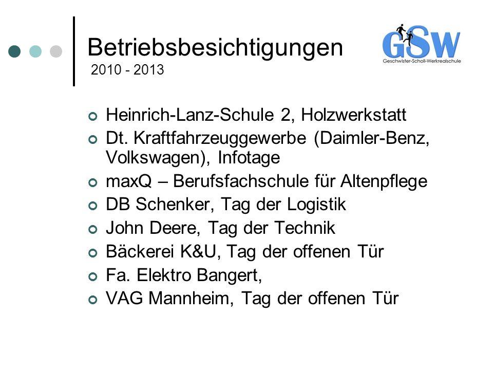 Betriebsbesichtigungen 2010 - 2013 Heinrich-Lanz-Schule 2, Holzwerkstatt Dt. Kraftfahrzeuggewerbe (Daimler-Benz, Volkswagen), Infotage maxQ – Berufsfa