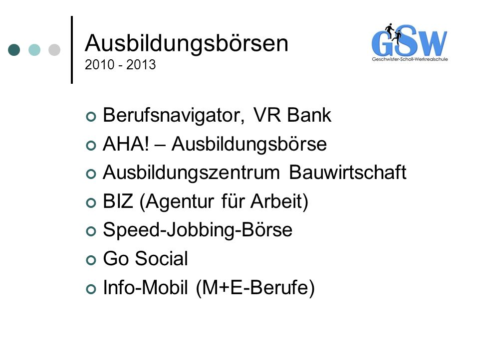 Ausbildungsbörsen 2010 - 2013 Berufsnavigator, VR Bank AHA! – Ausbildungsbörse Ausbildungszentrum Bauwirtschaft BIZ (Agentur für Arbeit) Speed-Jobbing
