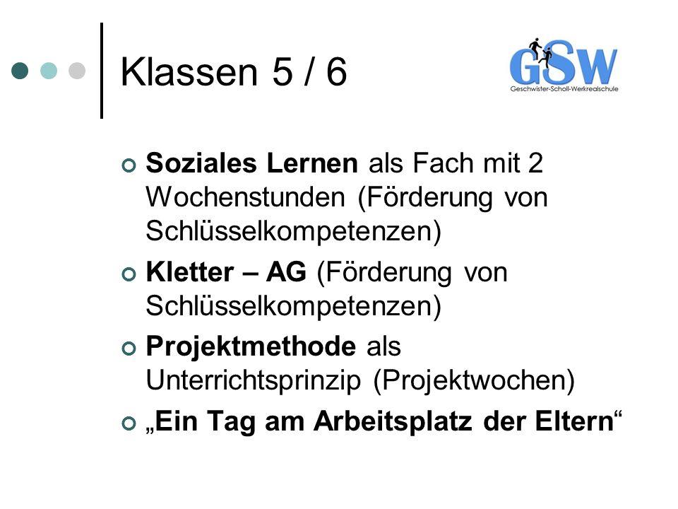 Klassen 5 / 6 Soziales Lernen als Fach mit 2 Wochenstunden (Förderung von Schlüsselkompetenzen) Kletter – AG (Förderung von Schlüsselkompetenzen) Proj