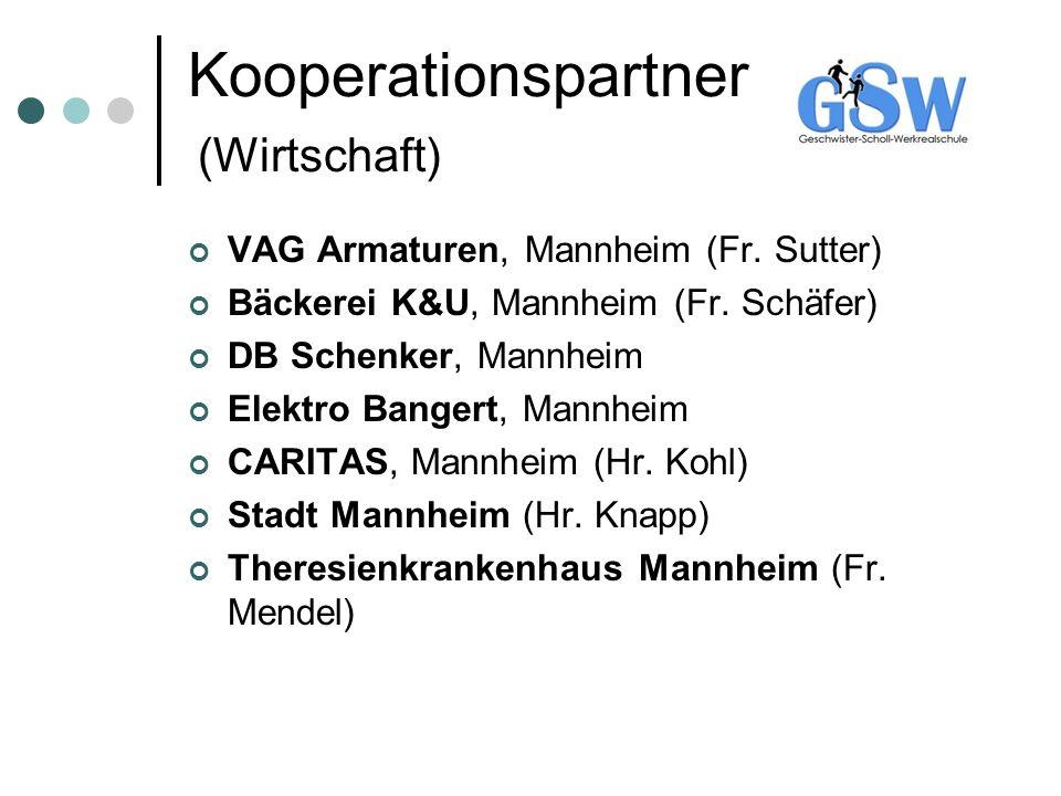Kooperationspartner (Wirtschaft) VAG Armaturen, Mannheim (Fr. Sutter) Bäckerei K&U, Mannheim (Fr. Schäfer) DB Schenker, Mannheim Elektro Bangert, Mann
