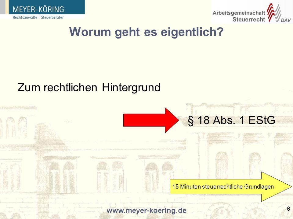 www.meyer-koering.de 17 Ein Blick in die Finanzrechtsprechung BVerfG, Beschluss vom 03.08.2004 - 1 BvR 135/00, 1 BvR 1086/01; DStR 2004, 1670 (Berufsbild eines Insolvenzverwalters) Betätigung als Insolvenzverwalter ist zum eigenständigen Beruf geworden.