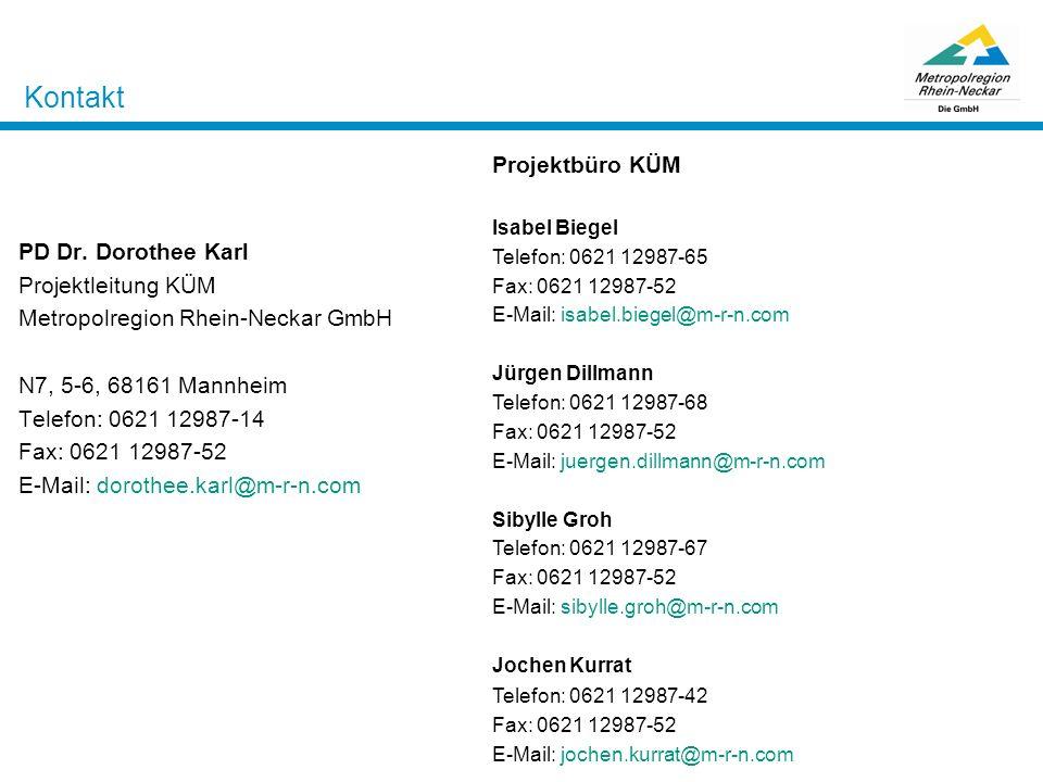Kontakt PD Dr. Dorothee Karl Projektleitung KÜM Metropolregion Rhein-Neckar GmbH N7, 5-6, 68161 Mannheim Telefon: 0621 12987-14 Fax: 0621 12987-52 E-M