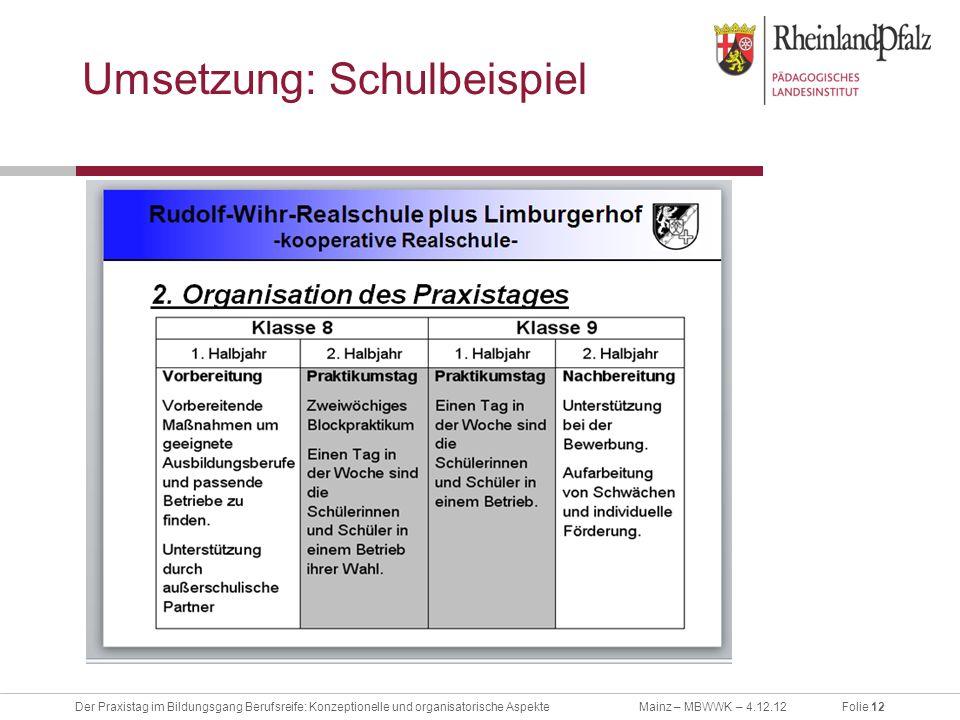 Folie 12Der Praxistag im Bildungsgang Berufsreife: Konzeptionelle und organisatorische AspekteMainz – MBWWK – 4.12.12 Umsetzung: Schulbeispiel