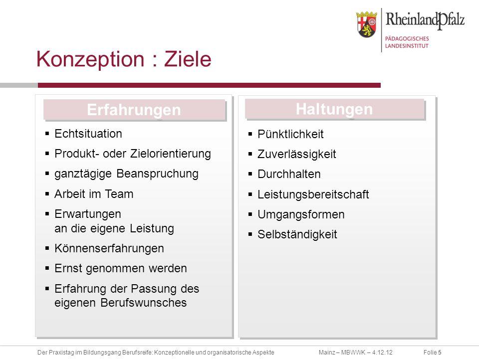 Folie 5Der Praxistag im Bildungsgang Berufsreife: Konzeptionelle und organisatorische AspekteMainz – MBWWK – 4.12.12 Konzeption : Ziele Echtsituation