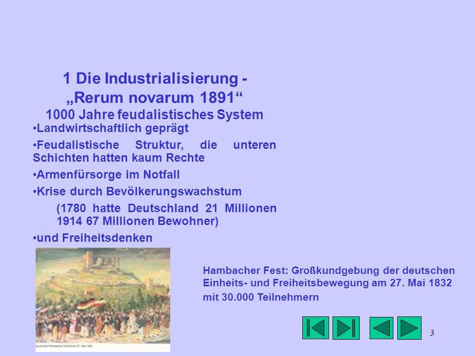 3 1 Die Industrialisierung - Rerum novarum 1891 1000 Jahre feudalistisches System Landwirtschaftlich geprägt Feudalistische Struktur, die unteren Schi