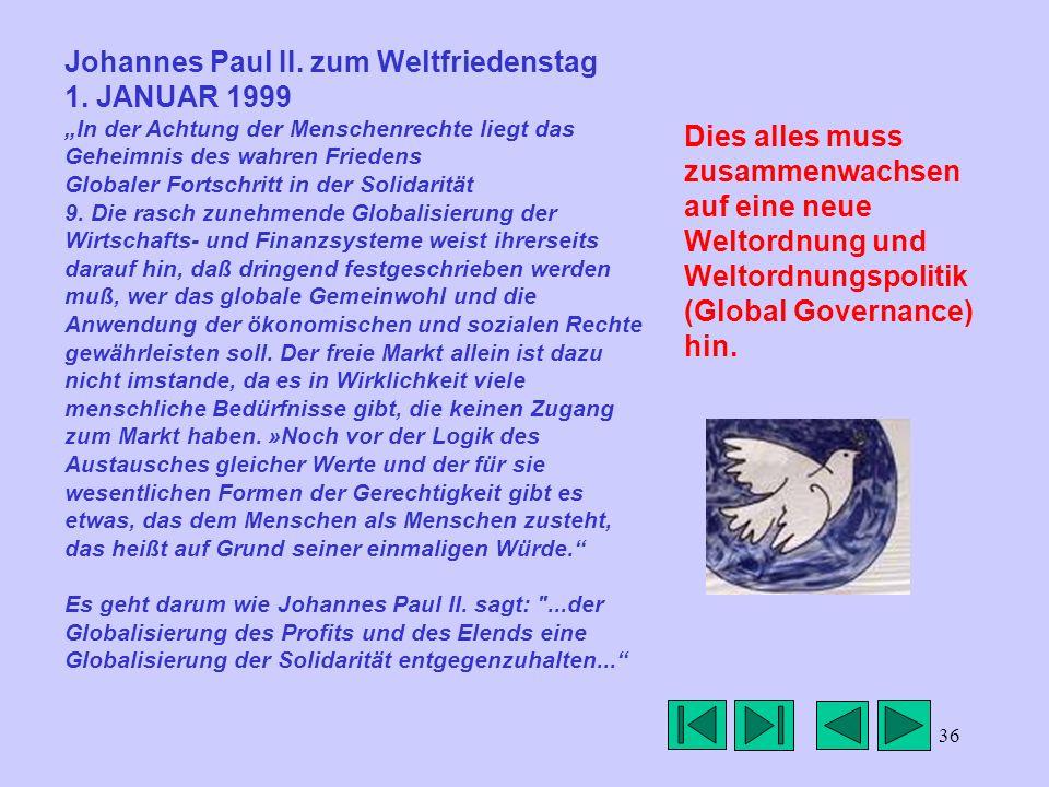36 Johannes Paul II. zum Weltfriedenstag 1. JANUAR 1999 In der Achtung der Menschenrechte liegt das Geheimnis des wahren Friedens Globaler Fortschritt