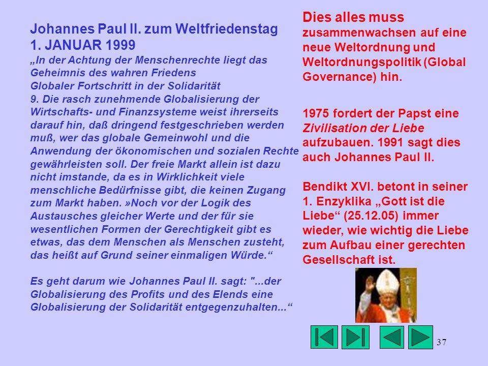 37 Johannes Paul II. zum Weltfriedenstag 1. JANUAR 1999 In der Achtung der Menschenrechte liegt das Geheimnis des wahren Friedens Globaler Fortschritt