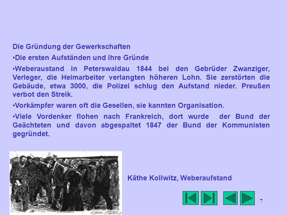 7 Die Gründung der Gewerkschaften Die ersten Aufständen und ihre Gründe Weberaustand in Peterswaldau 1844 bei den Gebrüder Zwanziger, Verleger, die He