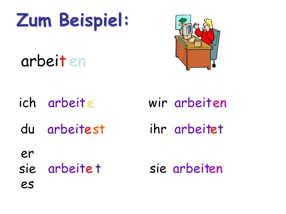 Verben im Präsens Teil II: arbeiten, baden, rechnen ich+Verbstamm+e du +Verbstamm+est er, sie, es +Verbstamm+et wir+Verbstamm+en ihr+Verbstamm+et sie/