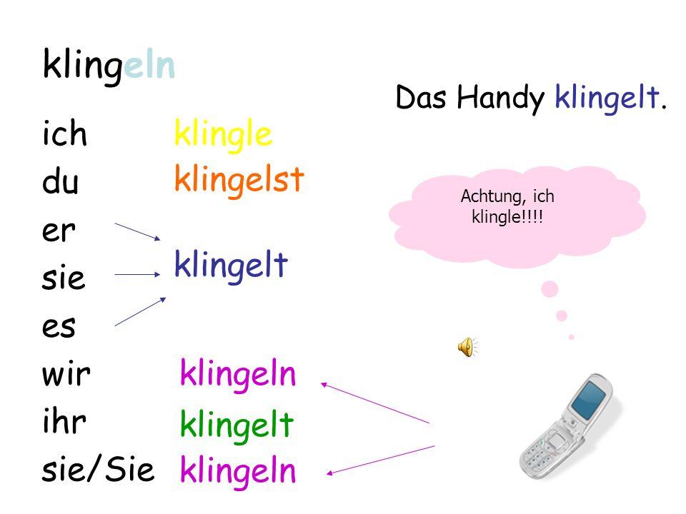 Verben im Präsens Teil III: terminação em Verben im Präsens Teil III: terminação em -eln Achtung in der I. Person Singular!!!