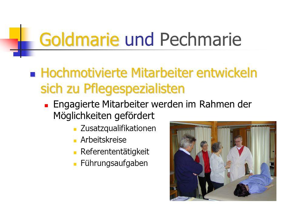 Goldmarie Goldmarie und Pechmarie Hochmotivierte Mitarbeiter entwickeln sich zu Pflegespezialisten Hochmotivierte Mitarbeiter entwickeln sich zu Pfleg