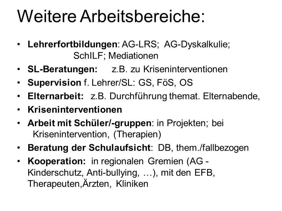 Weitere Arbeitsbereiche: Lehrerfortbildungen: AG-LRS; AG-Dyskalkulie; SchILF; Mediationen SL-Beratungen: z.B. zu Kriseninterventionen Supervision f. L