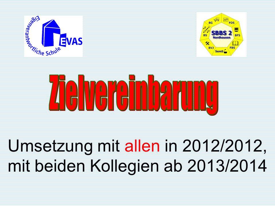 Umsetzung mit allen in 2012/2012, mit beiden Kollegien ab 2013/2014