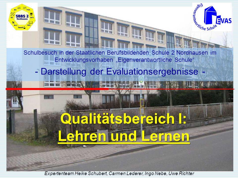 Qualitätsbereich I: Lehren und Lernen Expertenteam Heike Schubert, Carmen Lederer, Ingo Nebe, Uwe Richter Schulbesuch in der Staatlichen Berufsbildend