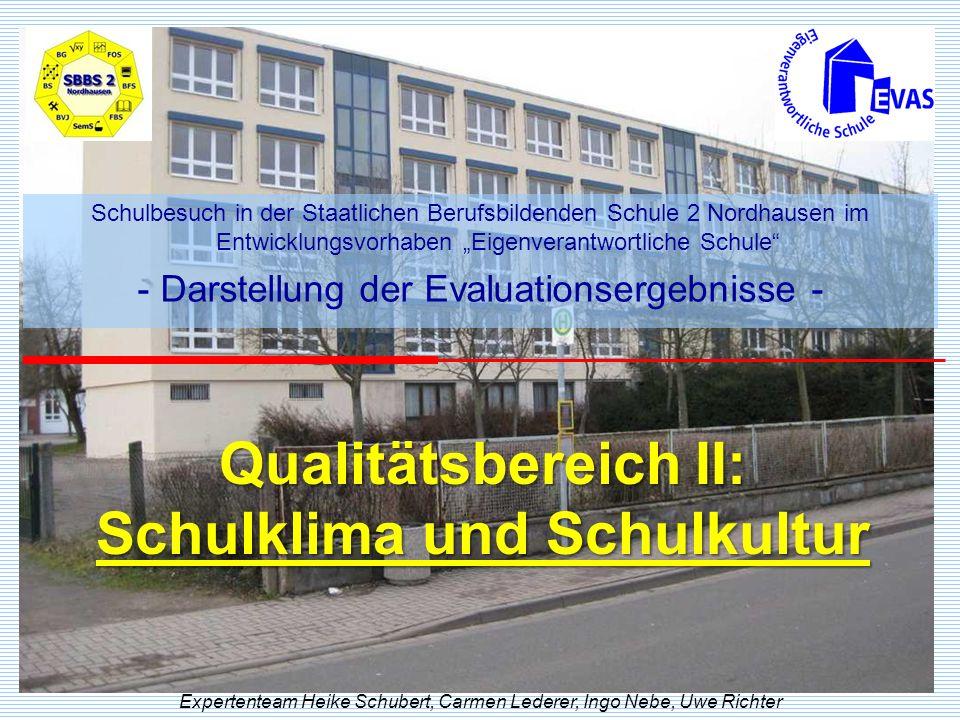 Qualitätsbereich II: Schulklima und Schulkultur Expertenteam Heike Schubert, Carmen Lederer, Ingo Nebe, Uwe Richter Schulbesuch in der Staatlichen Ber