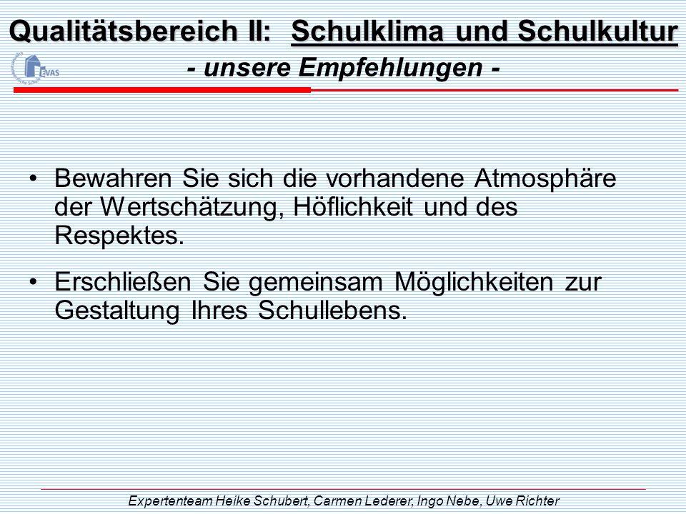 Qualitätsbereich II: Schulklima und Schulkultur - unsere Empfehlungen - Expertenteam Heike Schubert, Carmen Lederer, Ingo Nebe, Uwe Richter Bewahren S