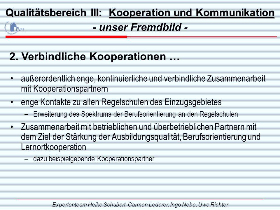 Qualitätsbereich III: Kooperation und Kommunikation außerordentlich enge, kontinuierliche und verbindliche Zusammenarbeit mit Kooperationspartnern eng