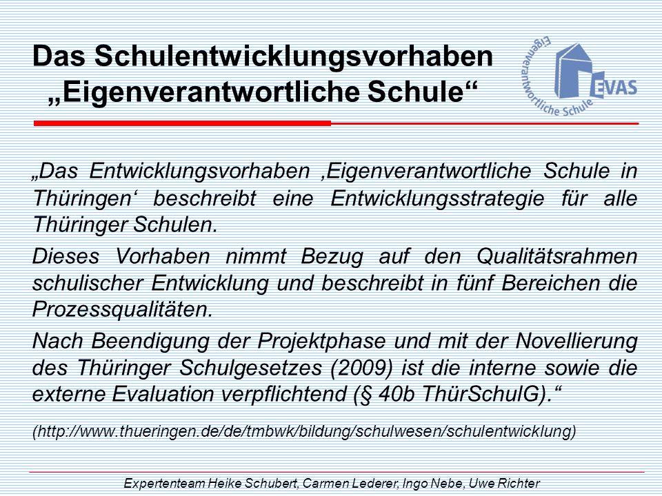 Das Schulentwicklungsvorhaben Eigenverantwortliche Schule Das Entwicklungsvorhaben Eigenverantwortliche Schule in Thüringen beschreibt eine Entwicklun