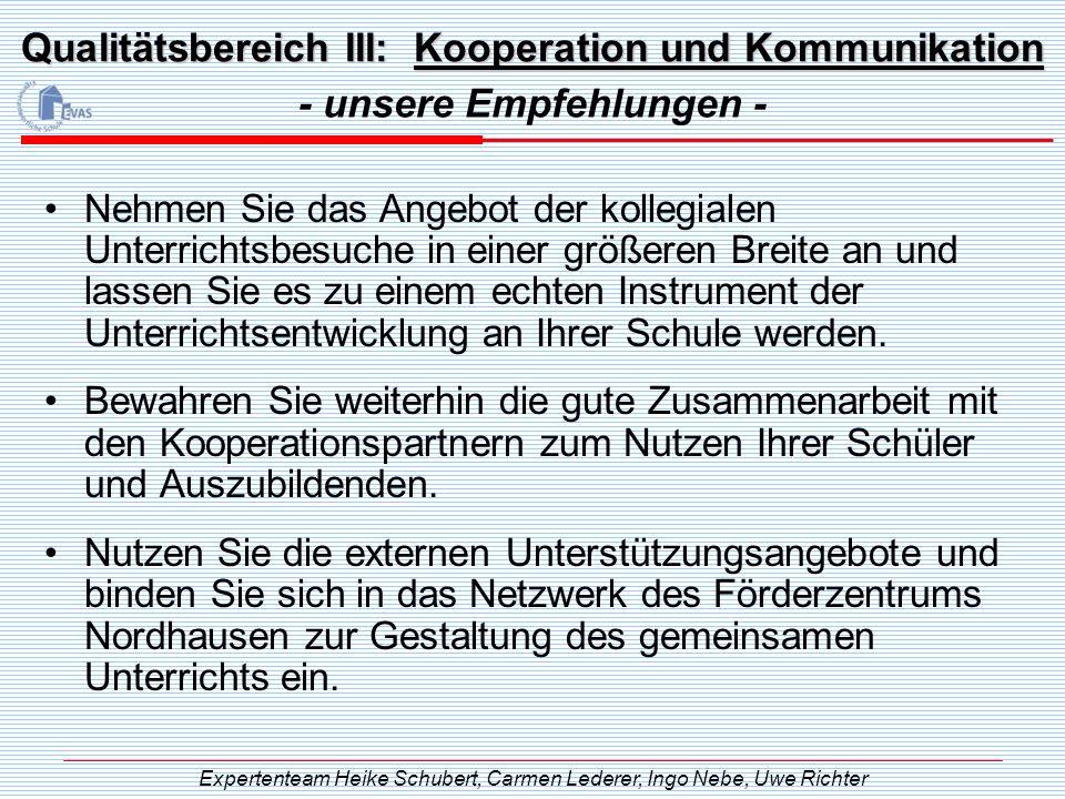 Qualitätsbereich III: Kooperation und Kommunikation - unsere Empfehlungen - Expertenteam Heike Schubert, Carmen Lederer, Ingo Nebe, Uwe Richter Nehmen