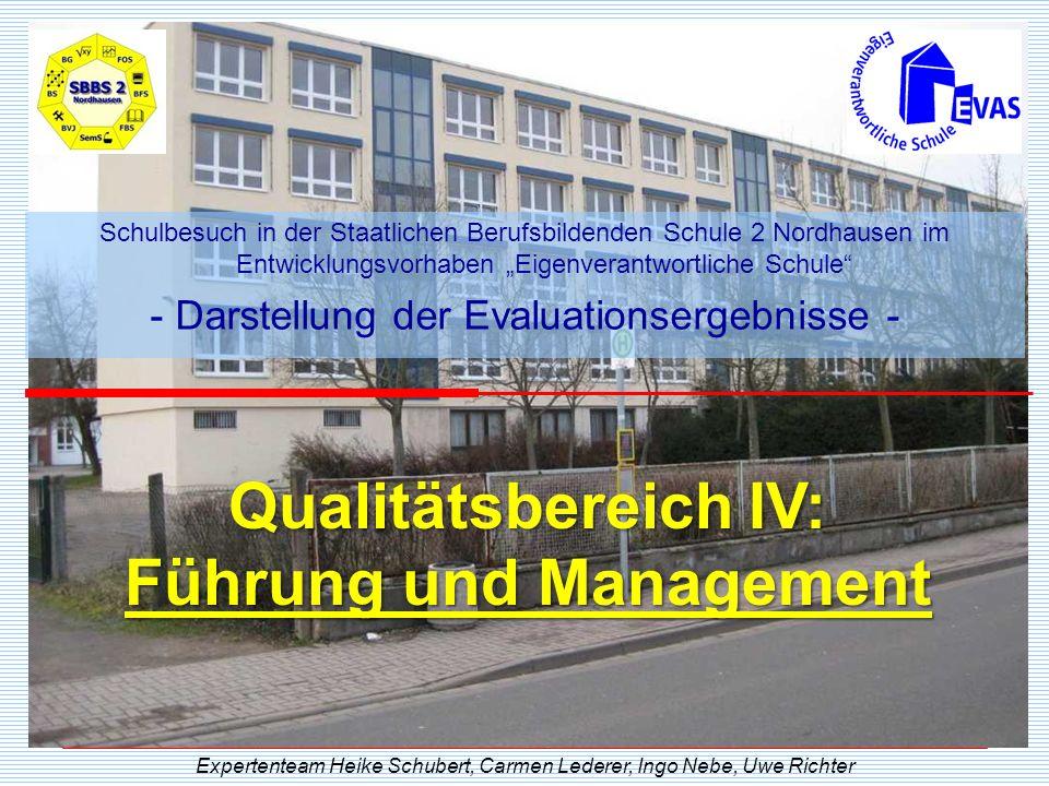 Qualitätsbereich IV: Führung und Management Expertenteam Heike Schubert, Carmen Lederer, Ingo Nebe, Uwe Richter Schulbesuch in der Staatlichen Berufsb