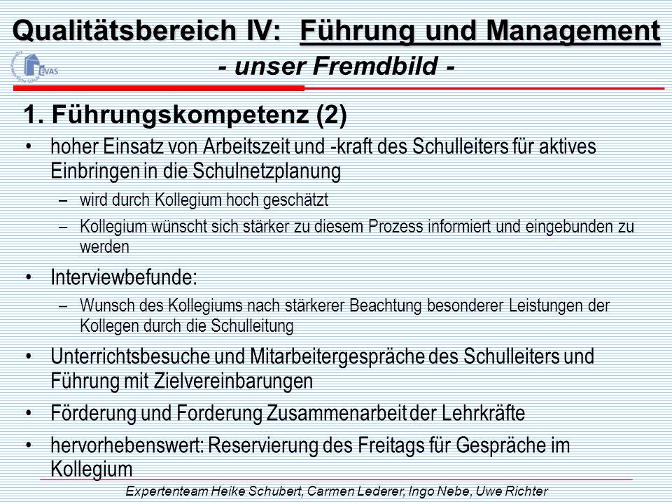 Qualitätsbereich IV: Führung und Management hoher Einsatz von Arbeitszeit und -kraft des Schulleiters für aktives Einbringen in die Schulnetzplanung –