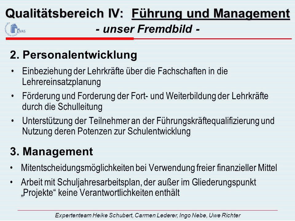 Qualitätsbereich IV: Führung und Management Einbeziehung der Lehrkräfte über die Fachschaften in die Lehrereinsatzplanung Förderung und Forderung der