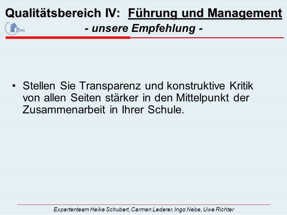 Qualitätsbereich IV: Führung und Management - unsere Empfehlung - Expertenteam Heike Schubert, Carmen Lederer, Ingo Nebe, Uwe Richter Stellen Sie Tran