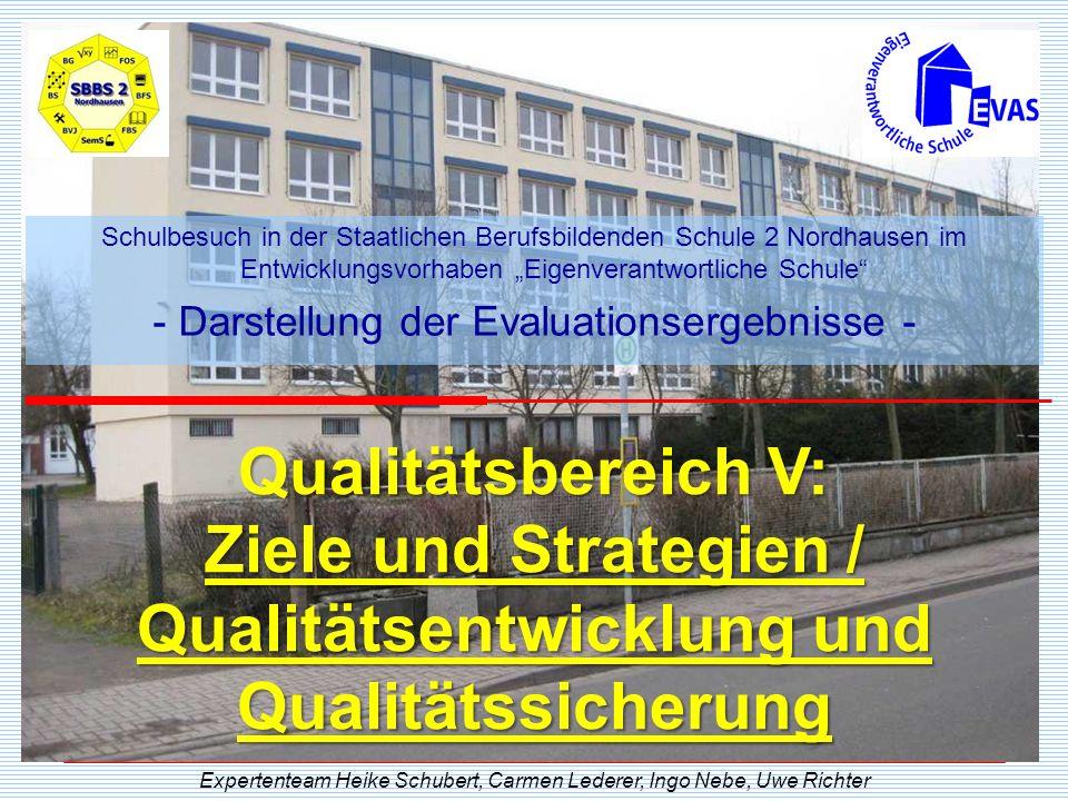 Qualitätsbereich V: Ziele und Strategien / Qualitätsentwicklung und Qualitätssicherung Expertenteam Heike Schubert, Carmen Lederer, Ingo Nebe, Uwe Ric
