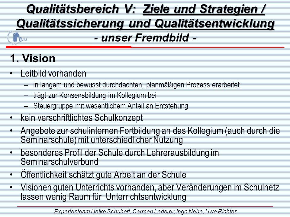 Qualitätsbereich V: Ziele und Strategien / Qualitätssicherung und Qualitätsentwicklung Leitbild vorhanden –in langem und bewusst durchdachten, planmäß