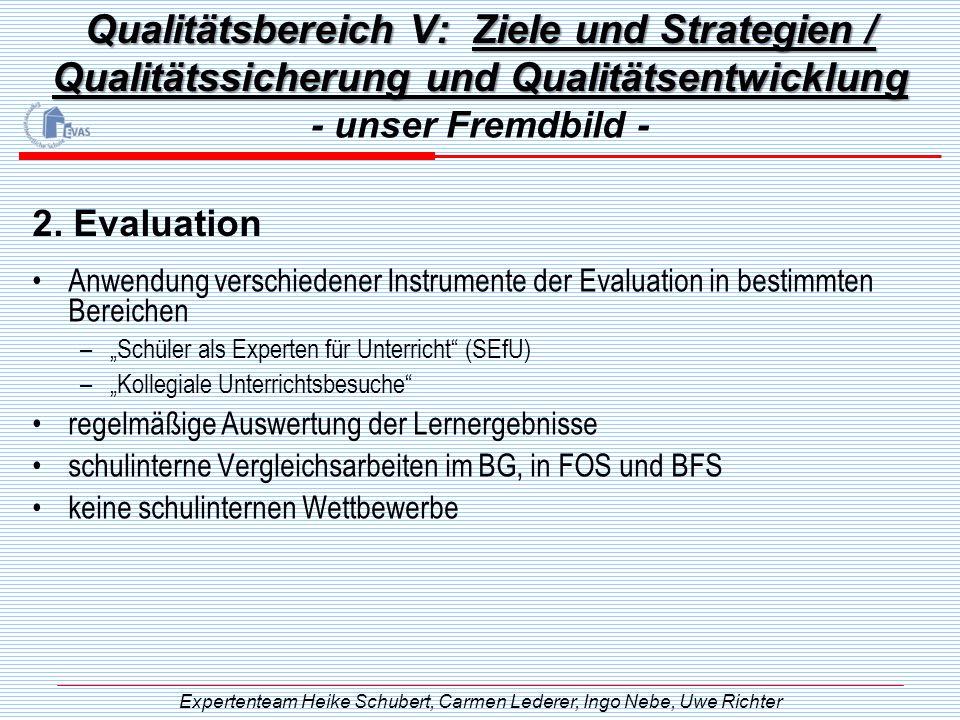 Qualitätsbereich V: Ziele und Strategien / Qualitätssicherung und Qualitätsentwicklung Anwendung verschiedener Instrumente der Evaluation in bestimmte