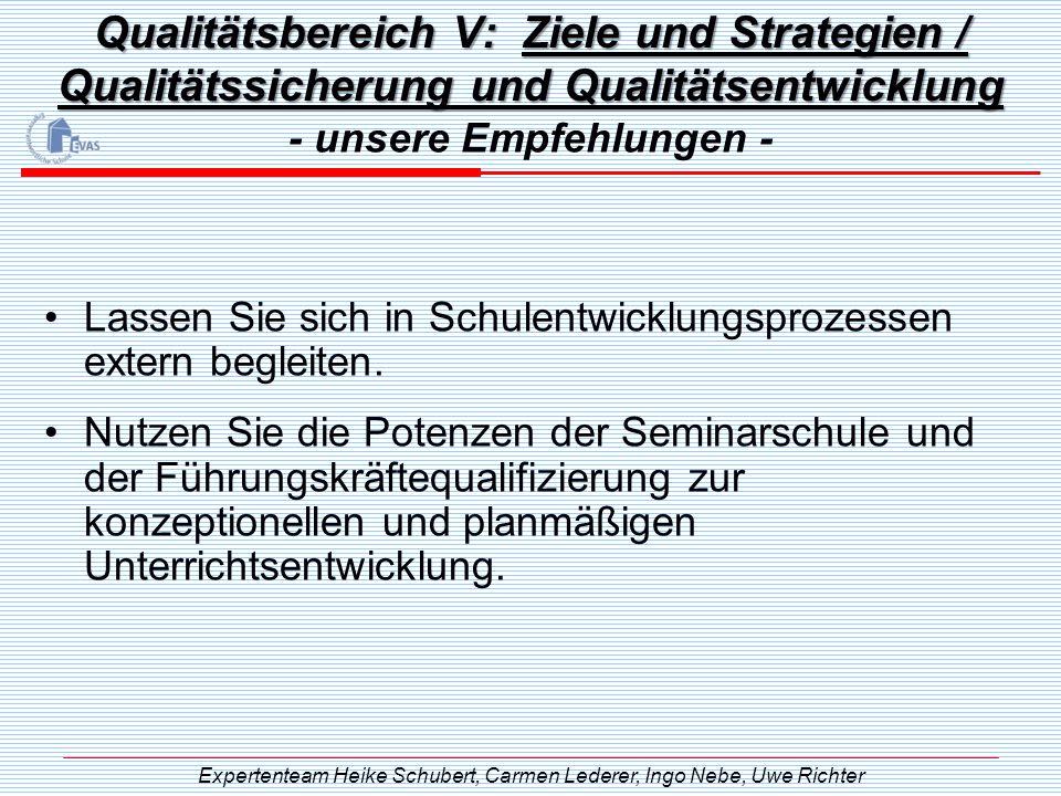 Qualitätsbereich V: Ziele und Strategien / Qualitätssicherung und Qualitätsentwicklung - unsere Empfehlungen - Expertenteam Heike Schubert, Carmen Led