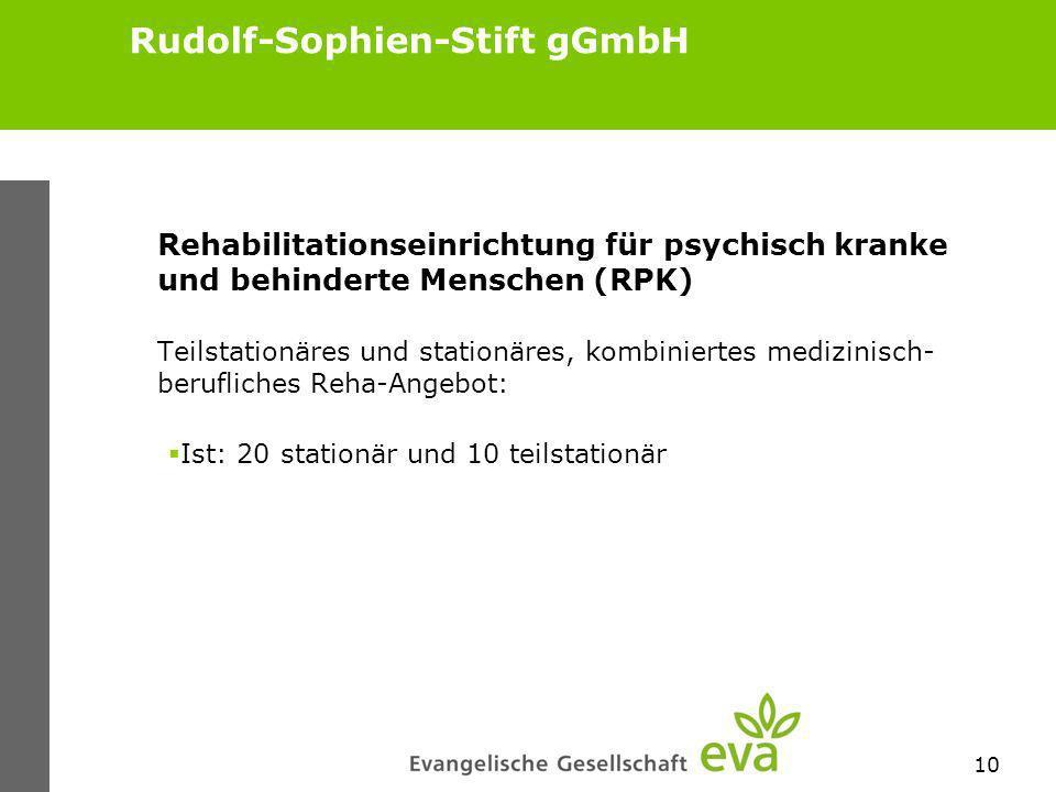 10 Rudolf-Sophien-Stift gGmbH Rehabilitationseinrichtung für psychisch kranke und behinderte Menschen (RPK) Teilstationäres und stationäres, kombiniertes medizinisch- berufliches Reha-Angebot: Ist: 20 stationär und 10 teilstationär