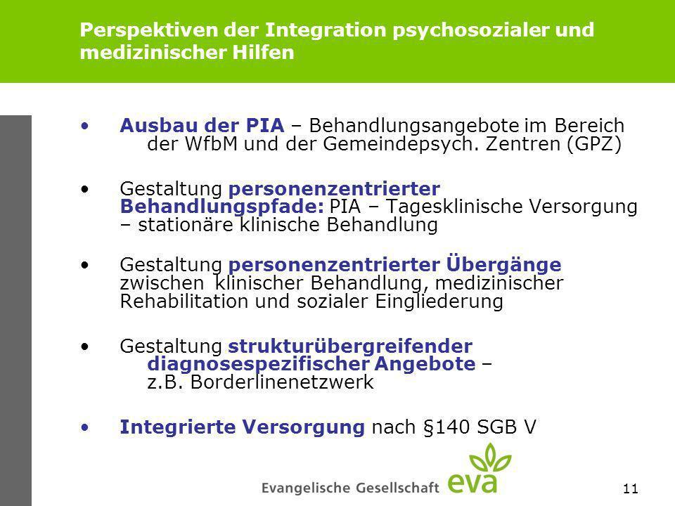 11 Perspektiven der Integration psychosozialer und medizinischer Hilfen Ausbau der PIA – Behandlungsangebote im Bereich der WfbM und der Gemeindepsych.