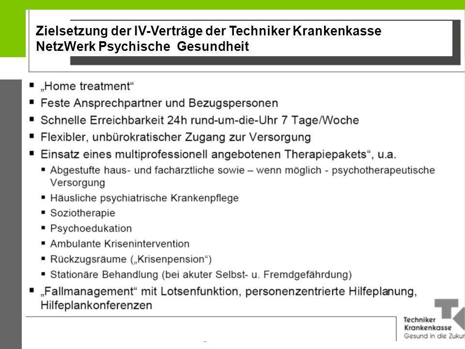 13 Zielsetzung der IV-Verträge der Techniker Krankenkasse NetzWerk Psychische Gesundheit