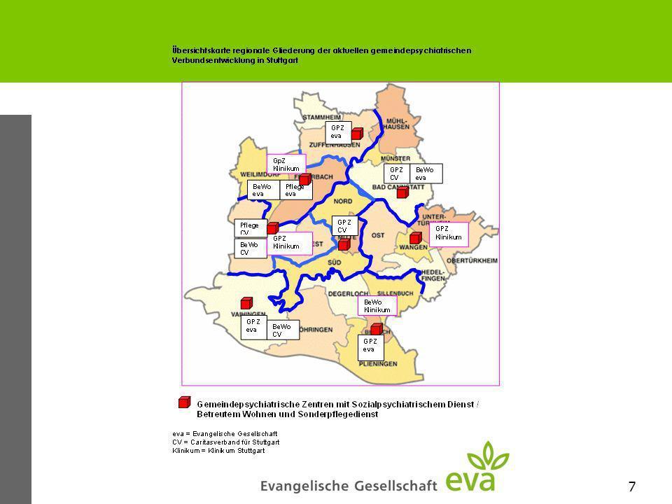 8 Gemeindepsychiatrische Verbund (GPV) Entwicklung von acht gemeindepsychiatrischen Zentren in regionalen Kooperationsstrukturen Die bislang bestehende Kooperationspraxis zwischen den Trägern der Sozialpsychiatrischen Dienste hat inzwischen im Rahmen des GPV eine vertragliche Grundlage erhalten.