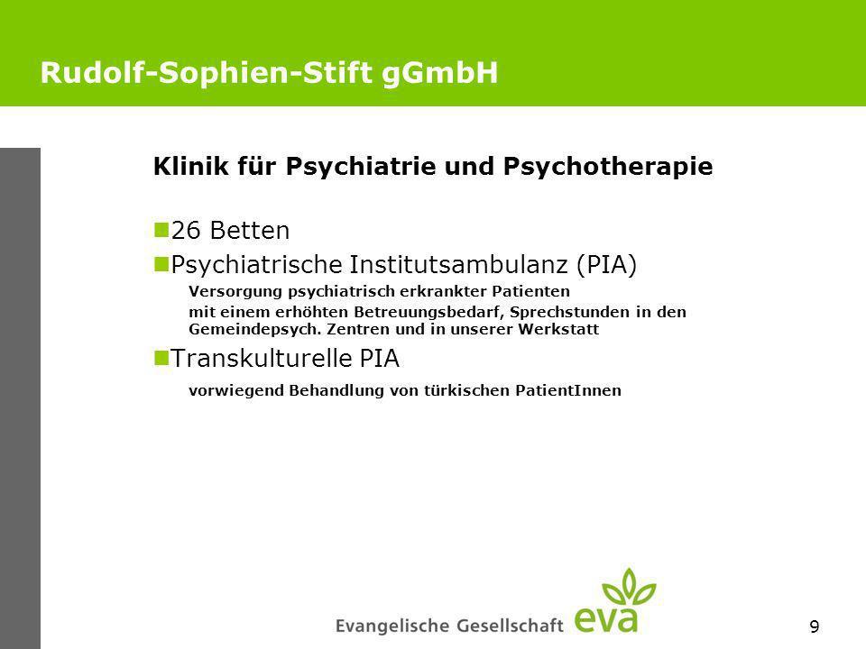 9 Rudolf-Sophien-Stift gGmbH Klinik für Psychiatrie und Psychotherapie 26 Betten Psychiatrische Institutsambulanz (PIA) Versorgung psychiatrisch erkrankter Patienten mit einem erhöhten Betreuungsbedarf, Sprechstunden in den Gemeindepsych.