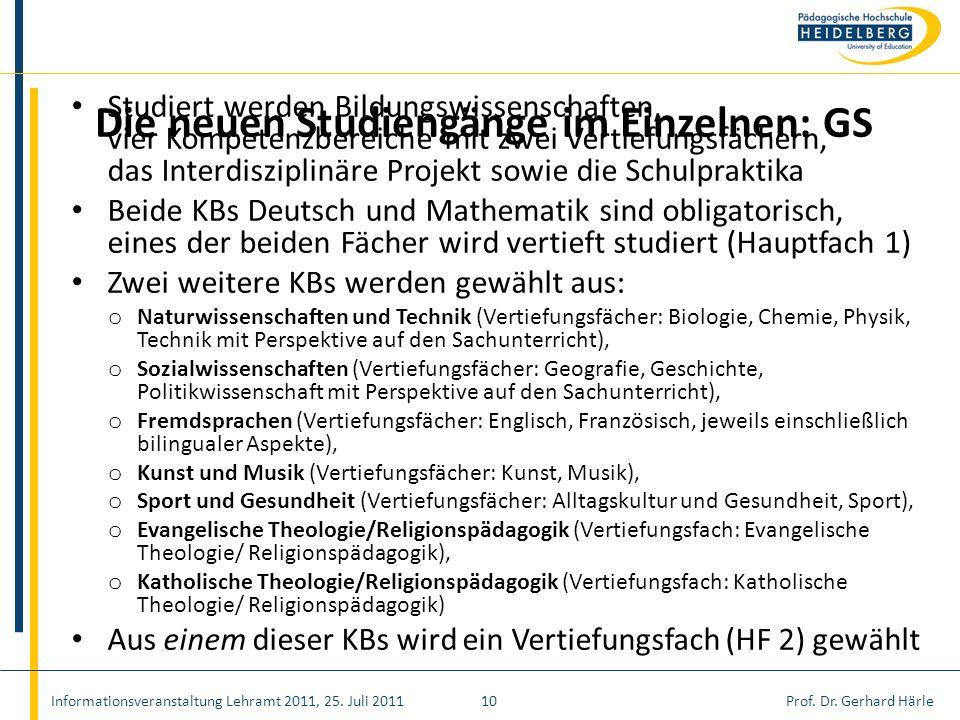 Prof. Dr. Gerhard Härle Studiert werden Bildungswissenschaften, vier Kompetenzbereiche mit zwei Vertiefungsfächern, das Interdisziplinäre Projekt sowi