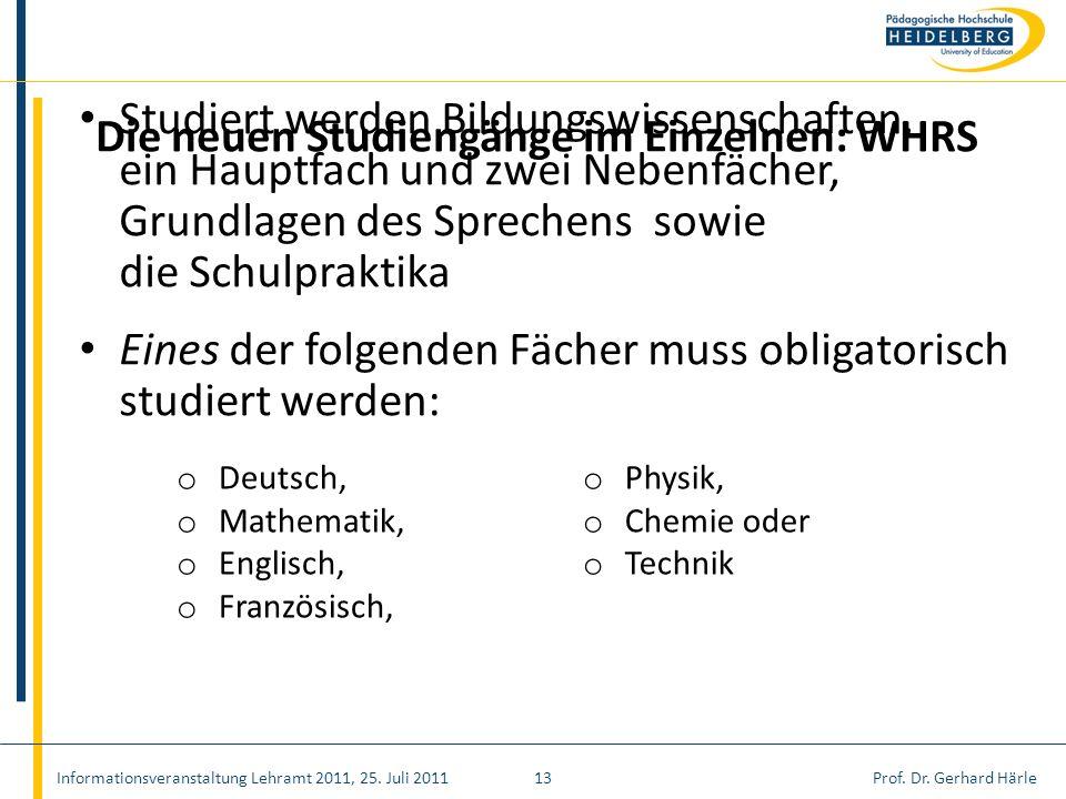 Prof. Dr. Gerhard Härle Studiert werden Bildungswissenschaften, ein Hauptfach und zwei Nebenfächer, Grundlagen des Sprechens sowie die Schulpraktika E