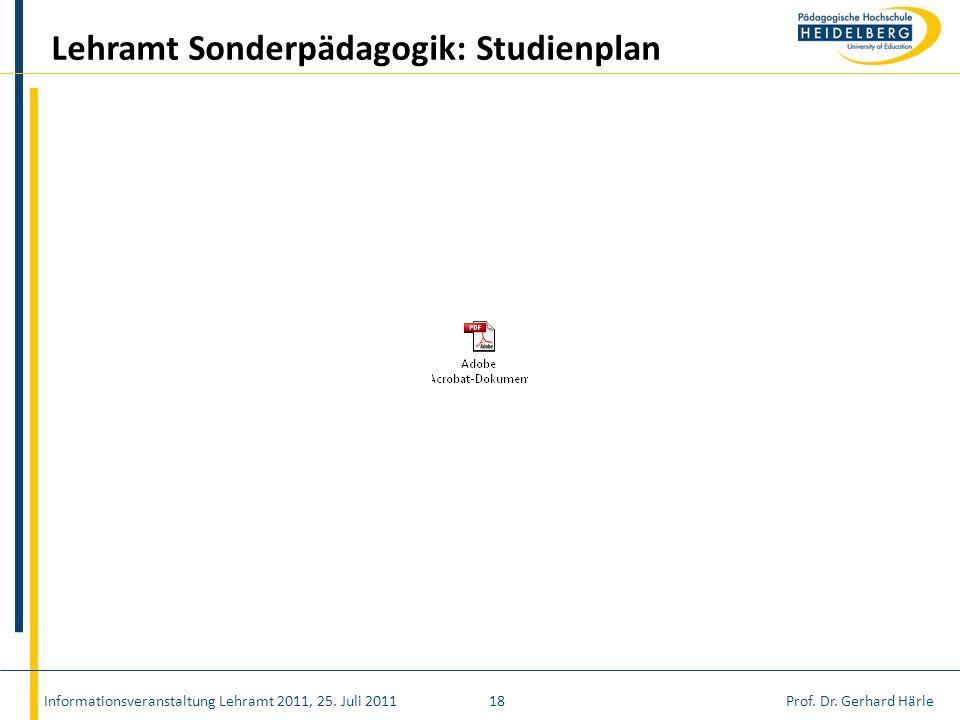 Prof. Dr. Gerhard HärleInformationsveranstaltung Lehramt 2011, 25. Juli 201118 Lehramt Sonderpädagogik: Studienplan