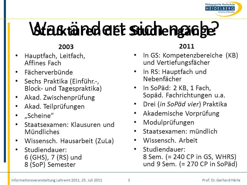 Prof. Dr. Gerhard Härle Strukturen der Studiengänge 2003 Hauptfach, Leitfach, Affines Fach Fächerverbünde Sechs Praktika (Einführ.-, Block- und Tagesp