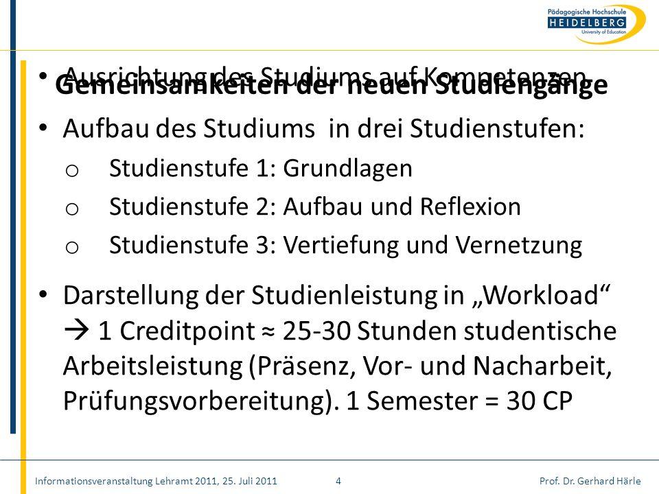 Prof. Dr. Gerhard Härle Ausrichtung des Studiums auf Kompetenzen Aufbau des Studiums in drei Studienstufen: o Studienstufe 1: Grundlagen o Studienstuf