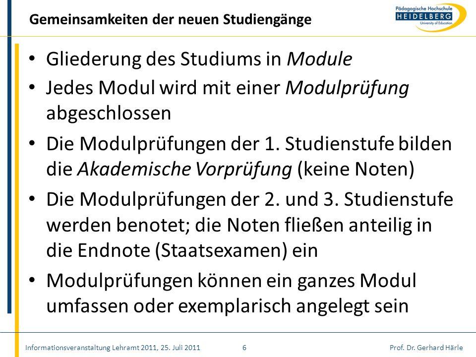 Prof. Dr. Gerhard Härle Gliederung des Studiums in Module Jedes Modul wird mit einer Modulprüfung abgeschlossen Die Modulprüfungen der 1. Studienstufe