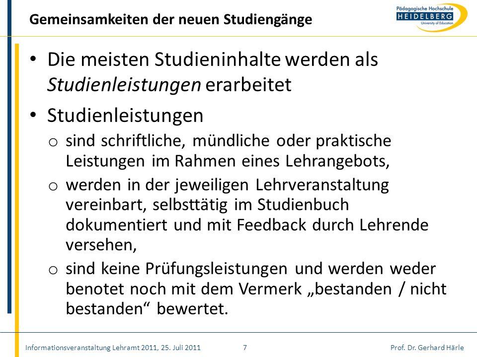 Prof. Dr. Gerhard Härle Die meisten Studieninhalte werden als Studienleistungen erarbeitet Studienleistungen o sind schriftliche, mündliche oder prakt
