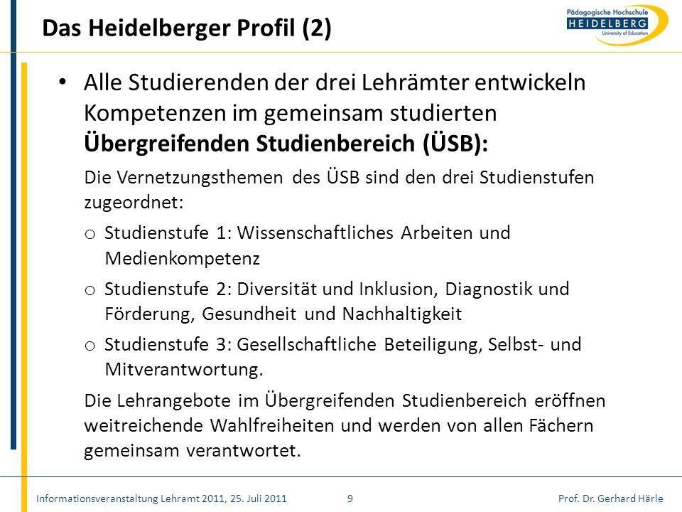 Prof. Dr. Gerhard HärleInformationsveranstaltung Lehramt 2011, 25. Juli 20119 Das Heidelberger Profil (2) Alle Studierenden der drei Lehrämter entwick