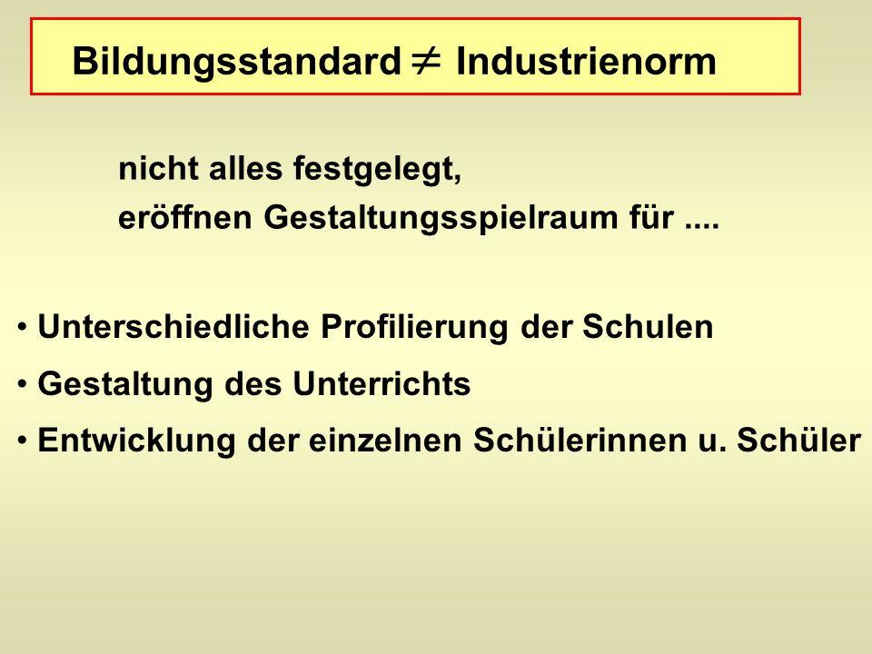 Bildungsstandard Industrienorm nicht alles festgelegt, eröffnen Gestaltungsspielraum für....