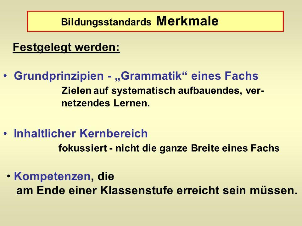 Bildungsstandards Merkmale Grundprinzipien - Grammatik eines Fachs Zielen auf systematisch aufbauendes, ver- netzendes Lernen. Inhaltlicher Kernbereic