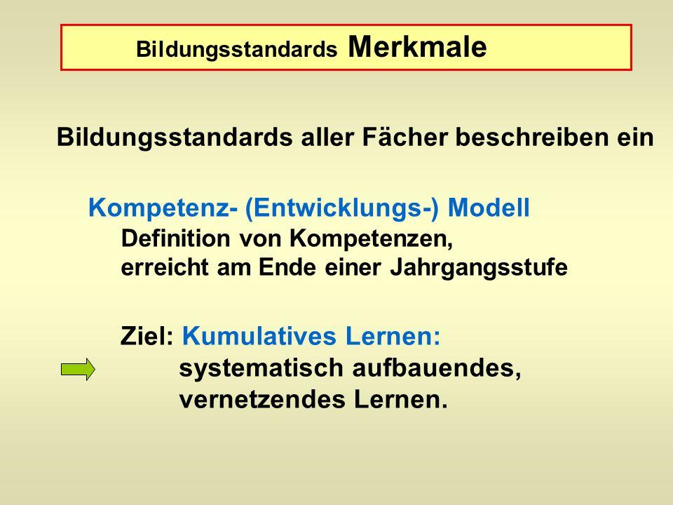 Kompetenz- (Entwicklungs-) Modell Definition von Kompetenzen, erreicht am Ende einer Jahrgangsstufe Ziel: Kumulatives Lernen: systematisch aufbauendes