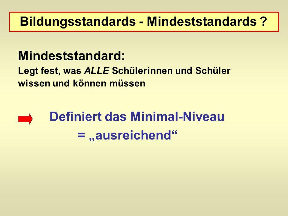 Mindeststandard: Legt fest, was ALLE Schülerinnen und Schüler wissen und können müssen Bildungsstandards - Mindeststandards .