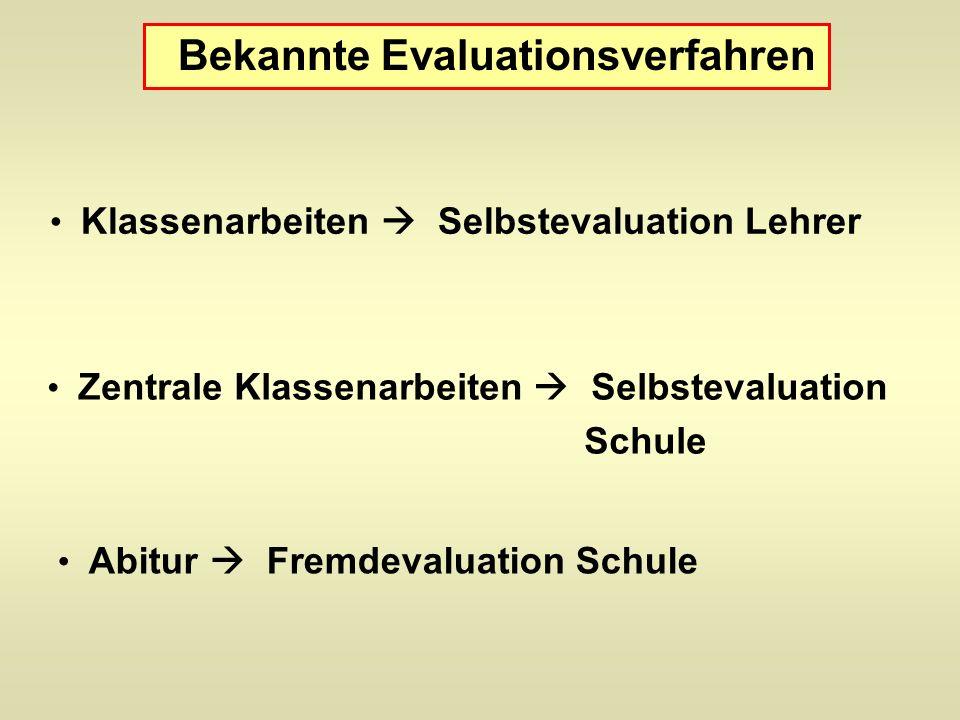 Bekannte Evaluationsverfahren Klassenarbeiten Selbstevaluation Lehrer Zentrale Klassenarbeiten Selbstevaluation Schule Abitur Fremdevaluation Schule